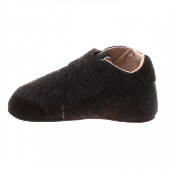 Papuci din lana cu scai si talpa antiderapanta - En Fant - Dark Grey