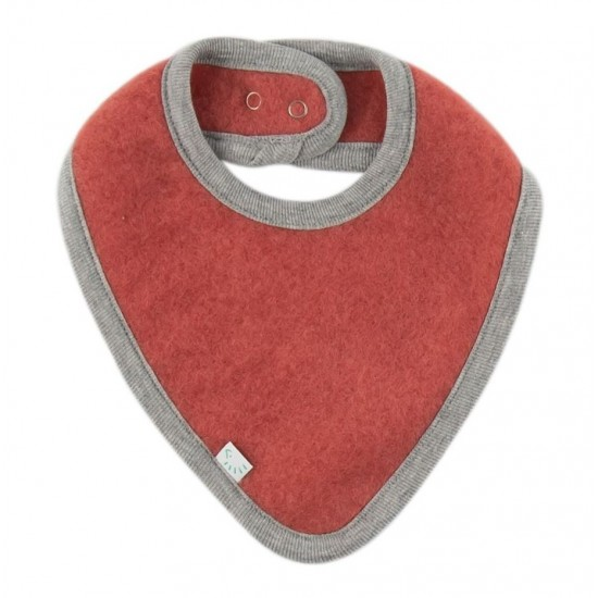 Bandana groasa din lana merinos organica fleece reglabila cu capse - Iobio - Vintage Red