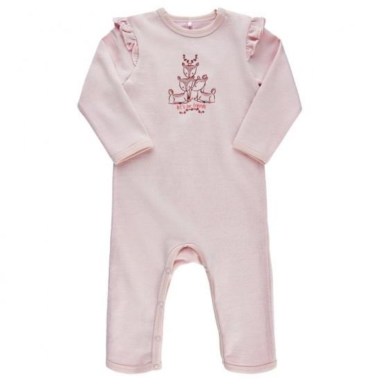 Salopeta fetite din lana merinos si bambus - MeToo - Parfait Pink